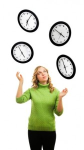 Woman Juggling Clocks